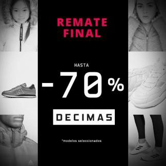 REMATE FINAL CON HASTA UN 70% EN DÉCIMAS